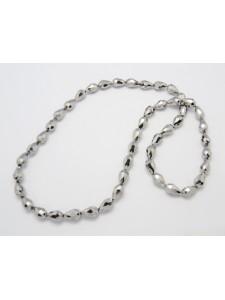 Glass Drop 14x10mm Silver 50pcs/strand