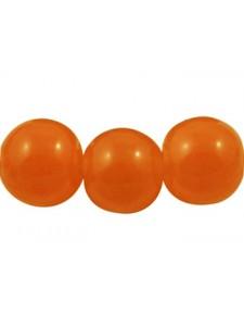 8mm Dyed Orange Glass Rnd Bead Str 105pc