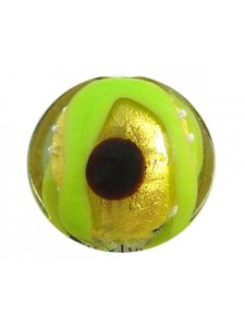 Murano Glass Lentil 20mm Gold/Green/Brow