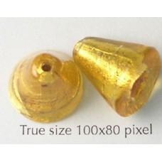 Murano Bead Cone Dark Gold Foiled