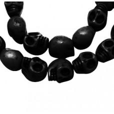Skull Beads 9x7.5mm Black 16in strand~40
