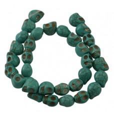 Skull Beads 10mm Howlite Turq 40pcs/stra