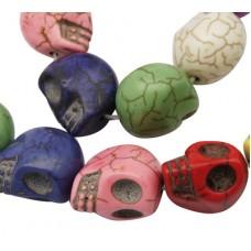 Skull Beads 18mm Multi colour 23pcs/stra
