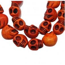 Skull Beads 18mm Orange ~ 23pcs/stra