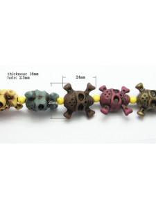 Acrylic Skulls 26x24mm Mixed Colours