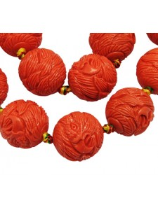 Synthetic Bead 19mm Coral Carved Eagle