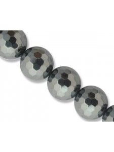 Hematite 10mm Round Faceted - 16 inch