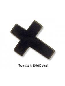 Black Stone Cross 20x25mm 1.5mm H