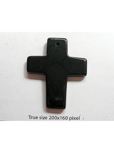 Black Stone Cross 35x43mm 1.5mm H
