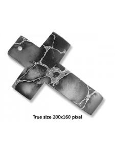 Cross Pendant Black Emp Jasper 40x60mm