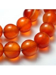 Carnelian Dk Orange 8mm round 15inch