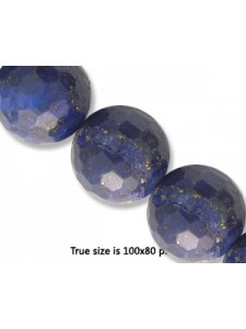 Lapis 14mm Round Faceted Bead 16 inch