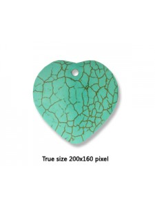 Heart Turquoise (Howlite) 40mmx10mm H3mm
