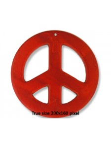 Peace Sign Red (Synthetic) 55x5mm H:1mm