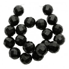 Black Agate Round Faceted 20mm 15in str