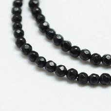 Black Agate Round 2mm Facted ~180 beads