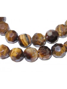 Tiger Eye Brown 4mm Faceted Round 15in