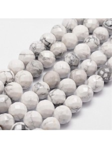 White Howlite 6mm Round Faceted 15in