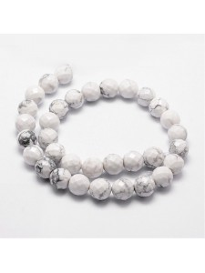 White Howlite 8mm Round faceted ~44 bead