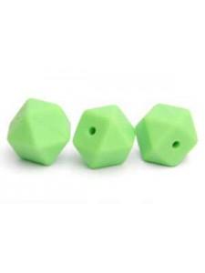 Silicone Hexagon Bead 14mm 10pc Lt Green