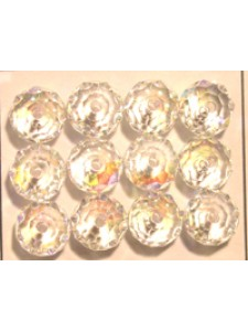 Swar Squashed Round Bead 8mm Clear AB