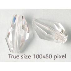 Swar Bead 18x12mm Polygon Clear