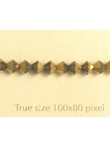 Swar Bi-cone Bead 4mm Bl.Diamond Dorado