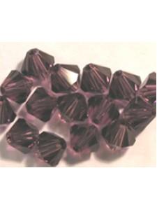Swar Bi-cone Bead 4mm Amethyst Satin