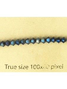 Swar Bi-cone Bead 3mm Metallic Blue 2X