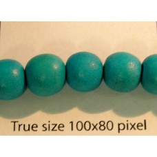 Wood Bead 10mm Round Turquoise 16in