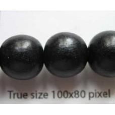 Wood Bead 12mm Round Black 16in strand