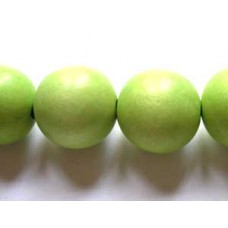 Wood bead 20mm Lime Green 16in strand