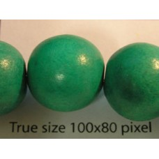 Wood Bead 15mm Round Green 16in