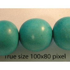 Wood Bead 15mm Round Med Turquoise 16in