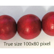 Wood Bead 15mm Round Red 16in