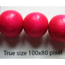 Wood Bead 12mm Round Pink 16in strand