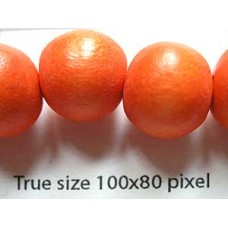 Wood Bead 12mm Round Orange 16in strand