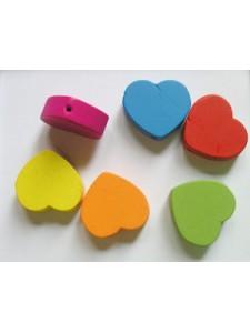 Wood bead 18x6mm Heart Mixed - each
