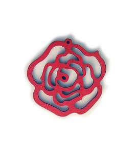 Rose Flower Pendant Wood 46x48x3mm Red