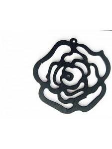 Rose Flower Pendant Wood 46x48x3mm Black