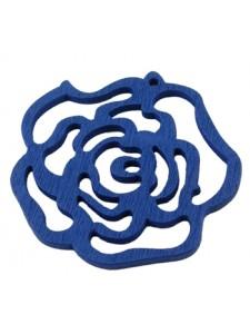 Rose Flower Pendant Wood 46x3mm Blue