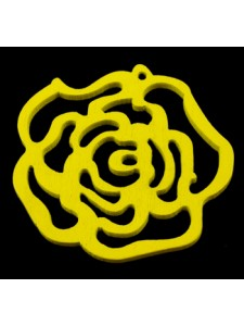 Rose Flower Pendant Wood 46x3mm Yellow