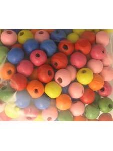 Wooden Bead 15mm  Mixed colours-25gram