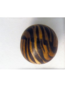 Wood Bead 19mm with Zebra print