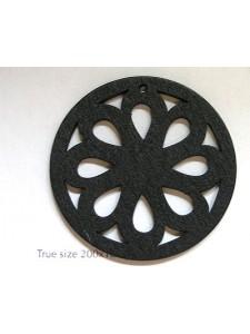 Wood Floral circle 49x3mm Black