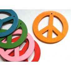 Peace Sign Wood 50x2.5mm Mixed Colours