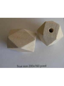 Wood Bead 26x20mm Polygon (H4mm) Natural