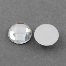 Cabochon 12mm Faceted Clear - 25 pcs