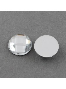 Cabochon 16mm Faceted Clear - 20 pcs
