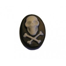 Cabochon 13x18mm Skull & Cross bone B&W